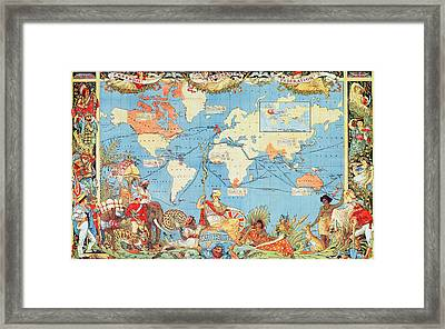 Antique Illustrated Map Of The World Framed Print by Anonymous