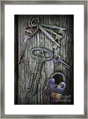 Antique Keys And Padlock Framed Print by Paul Ward