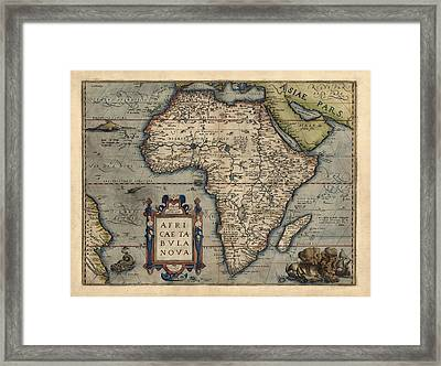 Antique Map Of Africa By Abraham Ortelius - 1570 Framed Print by Blue Monocle
