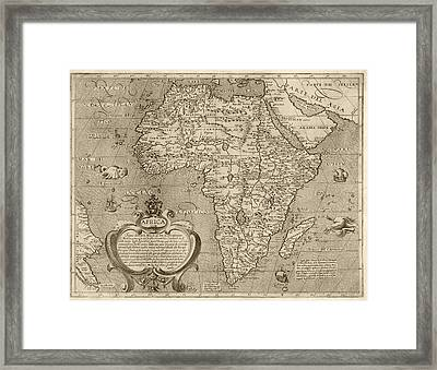 Antique Map Of Africa By Arnoldo Di Arnoldi - Circa 1600 Framed Print by Blue Monocle