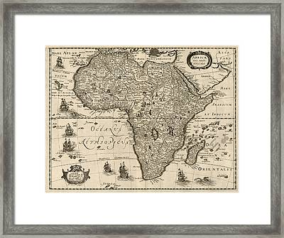 Antique Map Of Africa By Jodocus Hondius - Circa 1640 Framed Print by Blue Monocle