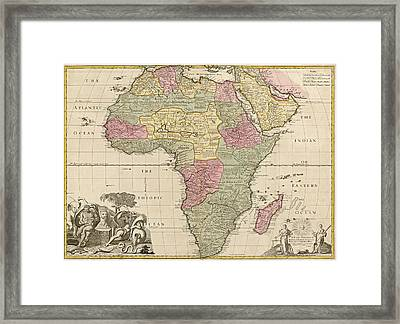 Antique Map Of Africa By John Senex - Circa 1725 Framed Print by Blue Monocle