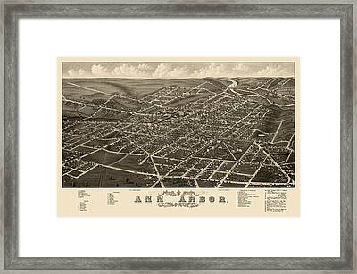 Antique Map Of Ann Arbor Michigan By A. Ruger - 1880 Framed Print by Blue Monocle