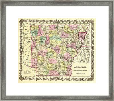 Antique Map Of Arkansas 1855 Framed Print by Mountain Dreams