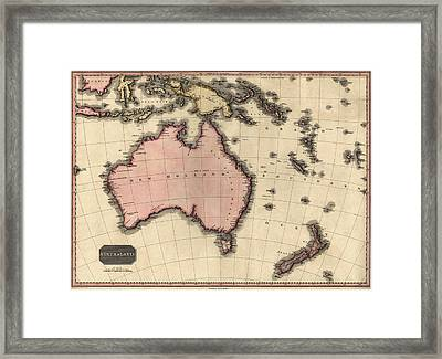 Antique Map Of Australia And The Pacific Islands By John Pinkerton - 1818 Framed Print by Blue Monocle