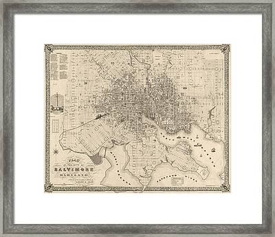 Antique Map Of Baltimore Maryland By Sidney And Neff - 1851 Framed Print by Blue Monocle