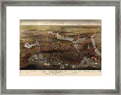 Antique Map Of Boston By Currier And Ives - 1873 Framed Print by Blue Monocle