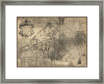 Antique Map Of Boston By William Price - 1769 Framed Print by Blue Monocle