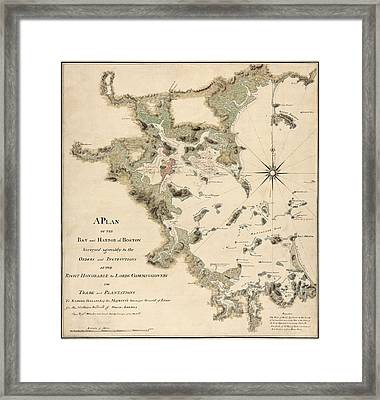Antique Map Of Boston Harbor By Thomas Wheeler - Circa 1775 Framed Print by Blue Monocle