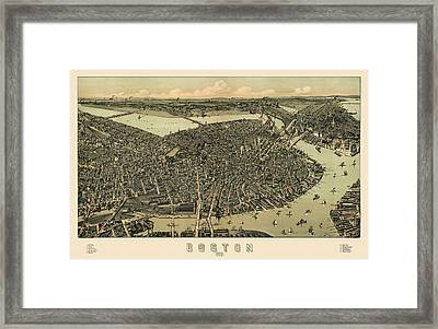 Antique Map Of Boston Massachusetts By A.e. Downs - Circa 1899 Framed Print by Blue Monocle