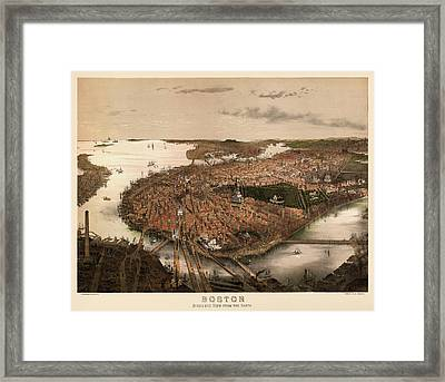 Antique Map Of Boston Massachusetts By John Bachmann - Circa 1877 Framed Print by Blue Monocle