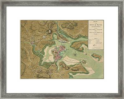 Antique Map Of Boston Massachusetts By Thomas Hyde Page - 1776 Framed Print by Blue Monocle