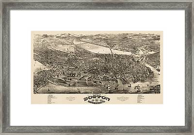 Antique Map Of Boston Masschusetts By H.h. Rowley And Co. - 1880 Framed Print by Blue Monocle