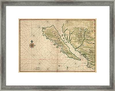 Antique Map Of California As An Island By Joan Vinckeboons - 1650 Framed Print by Blue Monocle