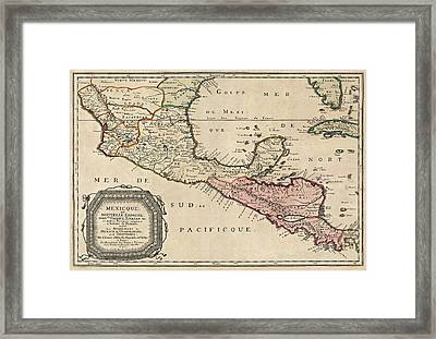 Antique Map Of Central America By Nicolas Sanson - 1656 Framed Print by Blue Monocle