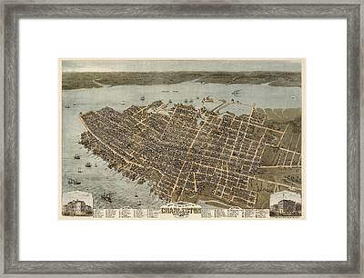Antique Map Of Charleston South Carolina By C. N. Drie - 1872 Framed Print by Blue Monocle