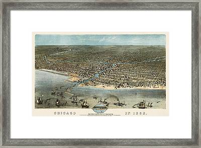 Antique Map Of Chicago Illinois By A. Ruger - 1868 Framed Print by Blue Monocle