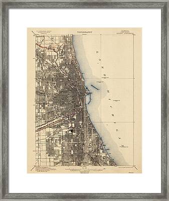 Antique Map Of Chicago - Usgs Topographic Map - 1901 Framed Print by Blue Monocle