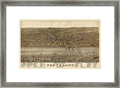 Antique Map Of Cleveland Ohio By A. Ruger - 1877 Framed Print by Blue Monocle