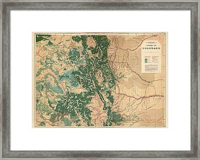 Antique Map Of Colorado - 1877 Framed Print by Blue Monocle