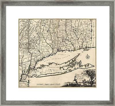 Antique Map Of Connecticut By Covens And Mortier - 1780 Framed Print by Blue Monocle