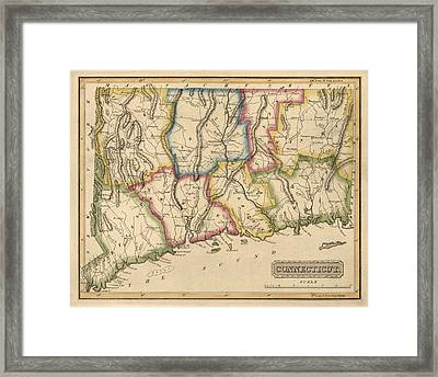Antique Map Of Connecticut By Fielding Lucas - Circa 1817 Framed Print by Blue Monocle