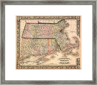 Antique Map Of Connecticut Massachusetts And Rhode Island 1864 Framed Print by Mountain Dreams