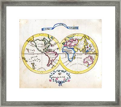 Antique Map Of  Cook World Framed Print by Celestial Images