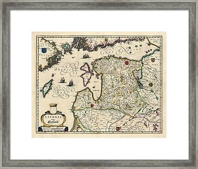 Antique Map Of Estonia Latvia And Lithuania By Willem Janszoon Blaeu - 1647 Framed Print by Blue Monocle