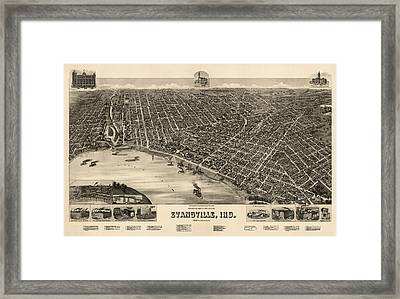 Antique Map Of Evansville Indiana By H. Wellge - 1888 Framed Print by Blue Monocle