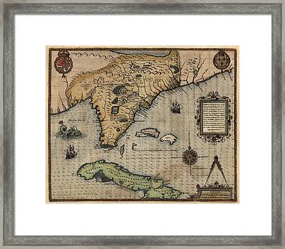 Antique Map Of Florida And The Southeast By Jacques Le Moyne De Morgues - 1591 Framed Print by Blue Monocle