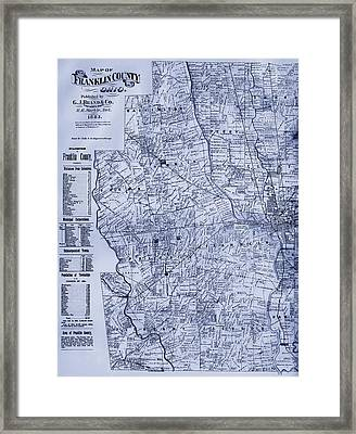 Antique Map Of Franklin County Ohio 1883 Framed Print by Mountain Dreams