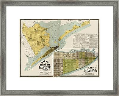 Antique Map Of Galveston Texas By The Island City Abstract And Loan Co. - 1891 Framed Print by Blue Monocle