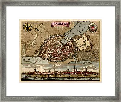 Antique Map Of Hamburg Germany By Pieter Schenk - Circa 1702 Framed Print by Blue Monocle