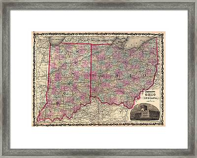 Antique Map Of Indiana And Ohio Framed Print by Mountain Dreams