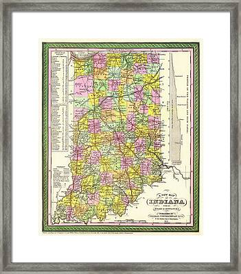 Antique Map Of Indiana Framed Print by Mountain Dreams