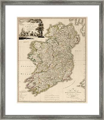 Antique Map Of Ireland By Daniel Augustus Beaufort - 1797 Framed Print by Blue Monocle