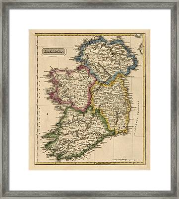 Antique Map Of Ireland By Fielding Lucas - Circa 1817 Framed Print by Blue Monocle