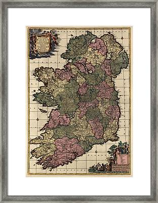 Antique Map Of Ireland By Frederik De Wit - Circa 1700 Framed Print by Blue Monocle