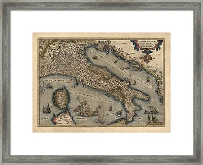 Antique Map Of Italy By Abraham Ortelius - 1570 Framed Print by Blue Monocle