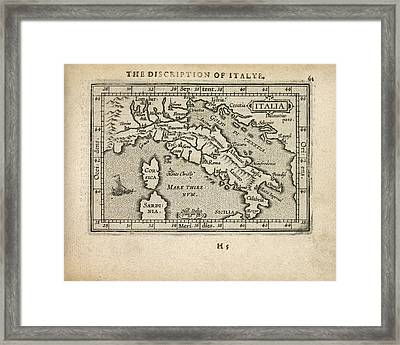 Antique Map Of Italy By Abraham Ortelius - 1603 Framed Print by Blue Monocle