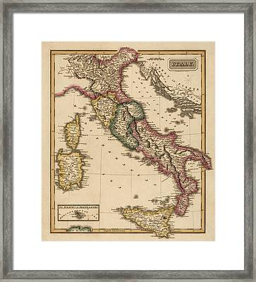 Antique Map Of Italy By Fielding Lucas - Circa 1817 Framed Print by Blue Monocle