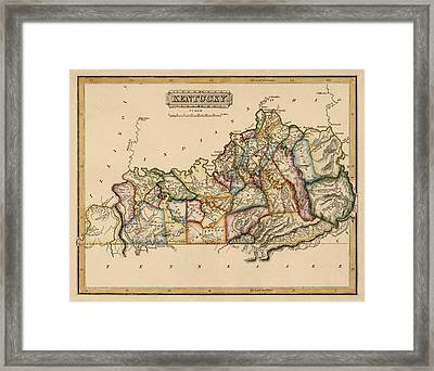 Antique Map Of Kentucky By Fielding Lucas - Circa 1817 Framed Print by Blue Monocle
