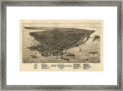 Antique Map Of Key West Florida By J. J. Stoner - 1884 Framed Print by Blue Monocle