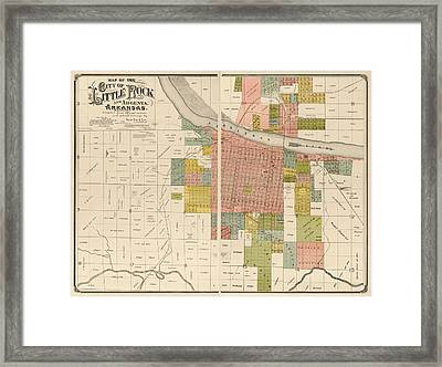 Antique Map Of Little Rock Arkansas By Gibb And Duff Rickon - 1888 Framed Print by Blue Monocle
