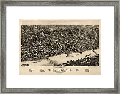 Antique Map Of Little Rock Arkansas By H. Wellge - 1887 Framed Print by Blue Monocle