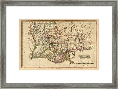 Antique Map Of Louisiana By Fielding Lucas - Circa 1817 Framed Print by Blue Monocle