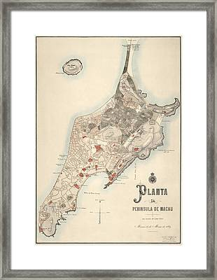 Antique Map Of Macau China By The Sociedade De Geografia De Lisboa - 1889 Framed Print by Blue Monocle