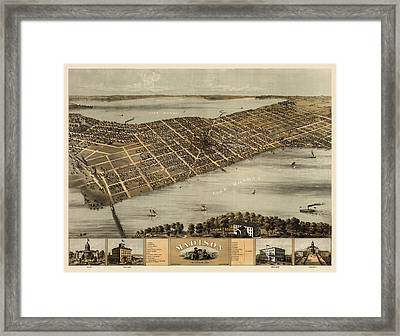 Antique Map Of Madison Wisconsin By A. Ruger - 1867 Framed Print by Blue Monocle