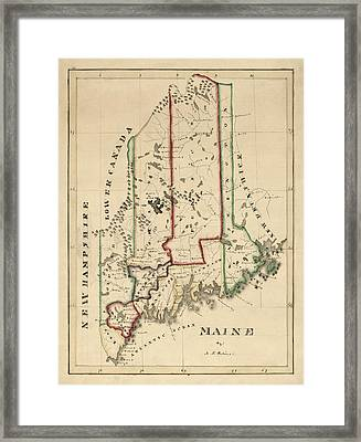 Antique Map Of Maine By A. T. Perkins - Circa 1820 Framed Print by Blue Monocle